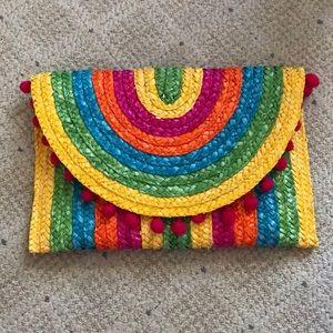 NWT Shiraleah Rainbow Straw Clutch
